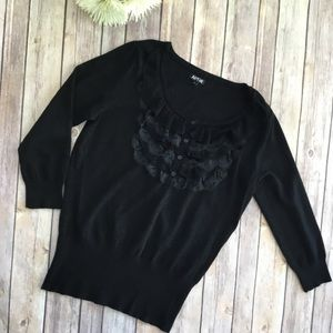 Black Apt. 9 Lace Ruffle Sweater